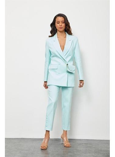 Setre Limon Kremi Çantalı Kruvaze Ceket Pantolon Takım Mavi